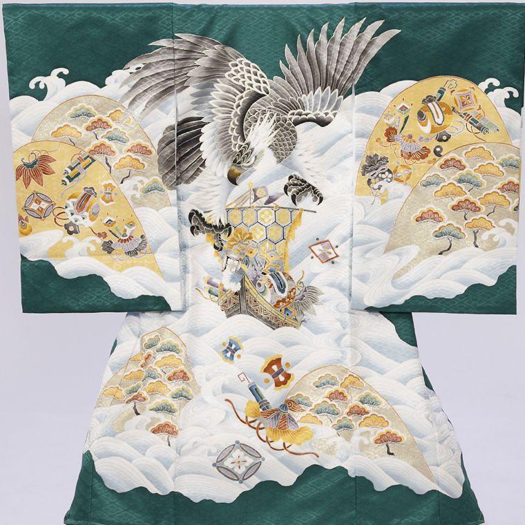 鷹 宝船柄の宮参り着物フルセット