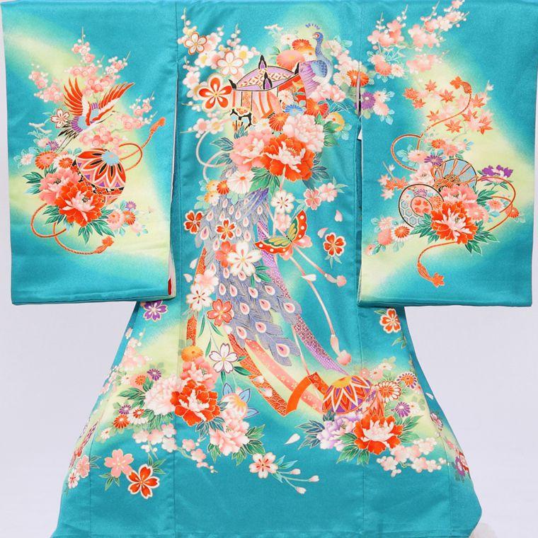 孔雀・蝶・まり柄の宮参り着物フルセット