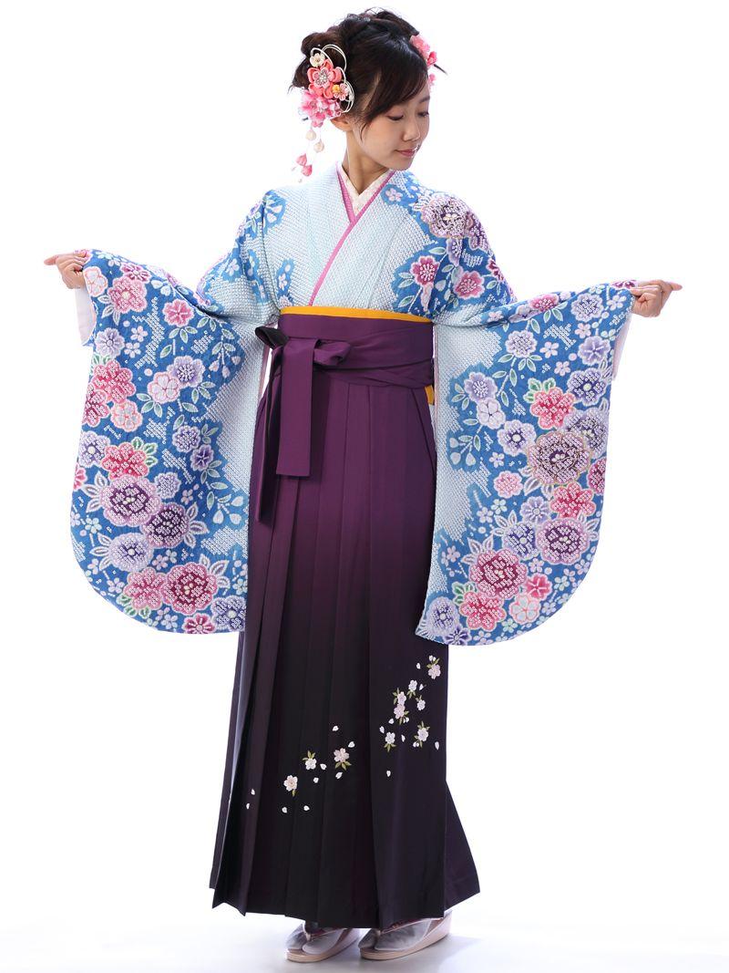 e-きものレンタル 卒業袴 ブルー