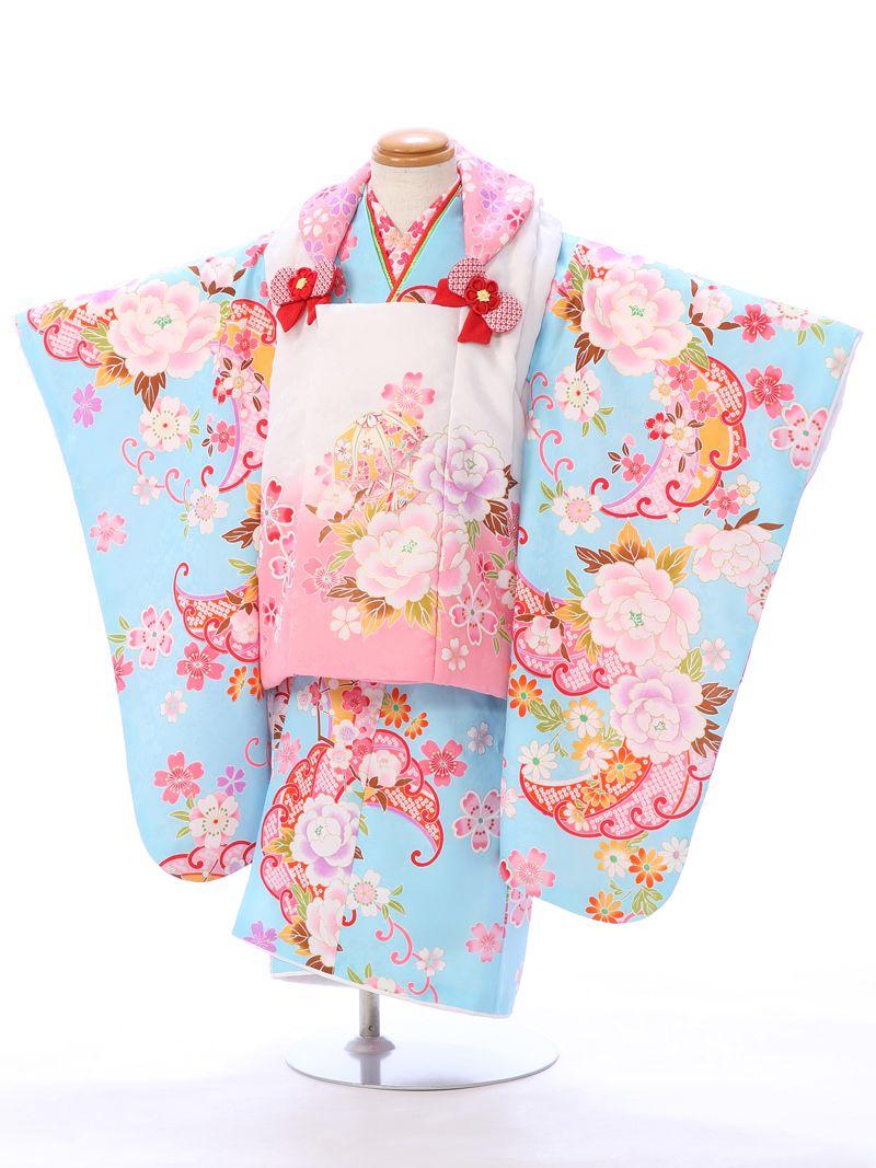 e-きものレンタル 東京ショールーム 七五三 試着 3歳 女の子 被布セット