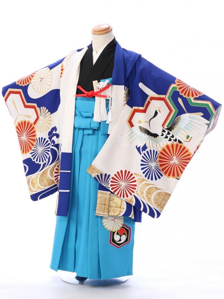 e-きものレンタル 東京ショールーム 七五三 試着 5歳男の子 羽織 袴 スカイブルー袴